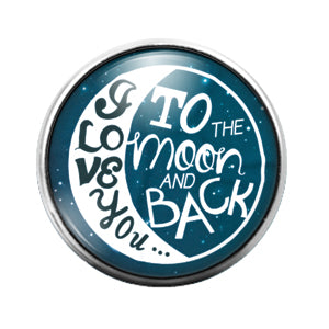 Love You Moon & Back- 18MM Glass Dome Candy Snap Charm GD1013