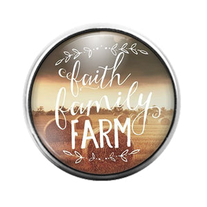 Faith Family Farm- 18MM Glass Dome Candy Snap Charm GD1109