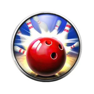 Bowling- 18MM Glass Dome Candy Snap Charm GD0962
