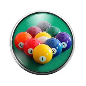 Pool Balls- 18MM Glass Dome Candy Snap Charm GD1051
