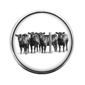 Farm Animals Cow- 18MM Glass Dome Candy Snap Charm GD1320