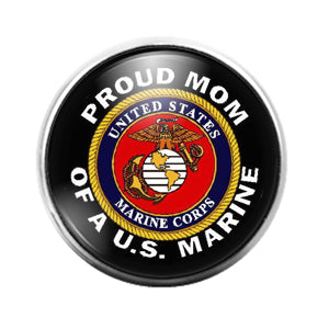 Marine Mom- 18MM Glass Dome Candy Snap Charm GD1128