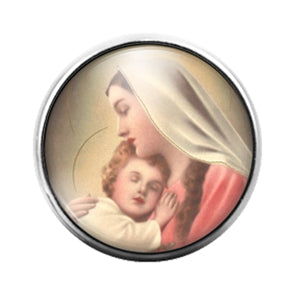 Mary and Jesus - 18MM Glass Dome Candy Snap Charm GD1275
