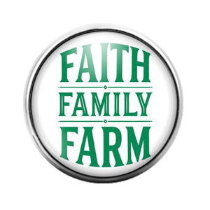 Faith Family Farm- 18MM Glass Dome Candy Snap Charm GD1110