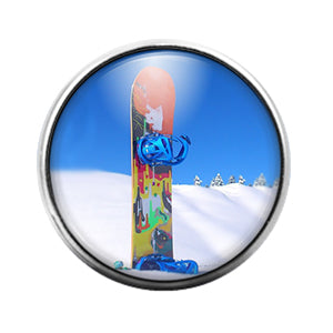 Snowboard- 18MM Glass Dome Candy Snap Charm GD0965