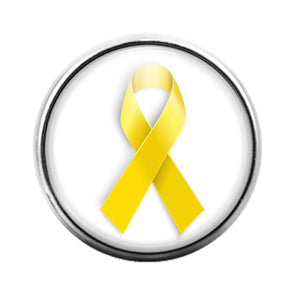 Awareness Ribbon Yellow - 18MM Glass Dome Candy Snap Charm GD0624