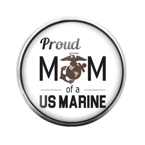 Marine Mom- 18MM Glass Dome Candy Snap Charm GD1144