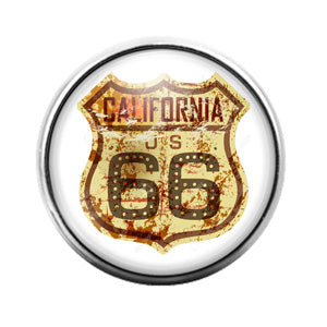 California Highway 66 - 18MM Glass Dome Candy Snap Charm GD0881