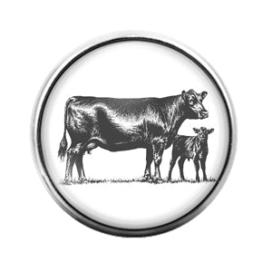 Farm Animals Cow- 18MM Glass Dome Candy Snap Charm GD1321