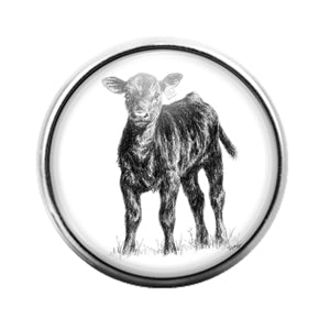 Farm Animals Cow- 18MM Glass Dome Candy Snap Charm GD1322
