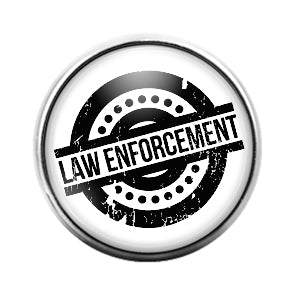 Law Enforcement Police- 18MM Glass Dome Candy Snap Charm GD1303