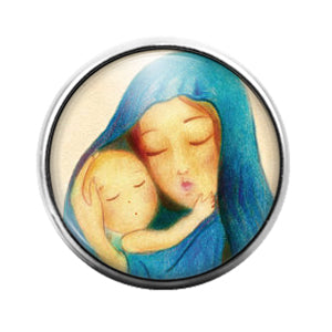 Mary and Jesus - 18MM Glass Dome Candy Snap Charm GD1276