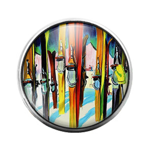 Skiing Ski- 18MM Glass Dome Candy Snap Charm GD0964