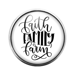 Faith Family Farm- 18MM Glass Dome Candy Snap Charm GD1111