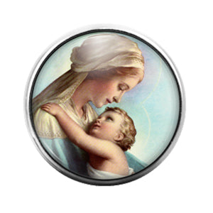 Mary and Jesus - 18MM Glass Dome Candy Snap Charm GD1277