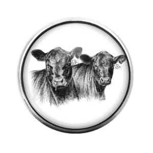 Farm Animals Cow- 18MM Glass Dome Candy Snap Charm GD1323