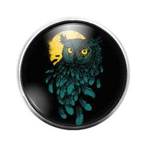 Owl Bird - 18MM Glass Dome Candy Snap Charm GD1473