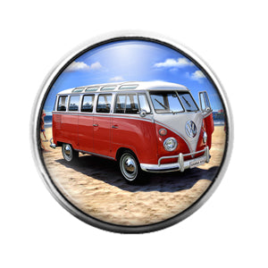 Volkswagen Red VW- 18MM Glass Dome Candy Snap Charm GD1218