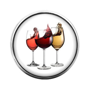 Wine Drinks - 18MM Glass Dome Candy Snap Charm GD0889