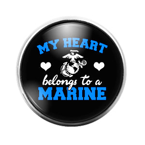 My Heart Belongs to a Marine - 18MM Glass Dome Candy Snap Charm GD1435