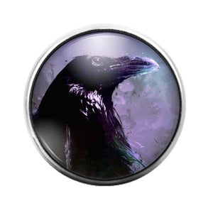 Crow Bird - 18MM Glass Dome Candy Snap Charm GD1474