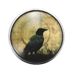 Crow Bird - 18MM Glass Dome Candy Snap Charm GD1475