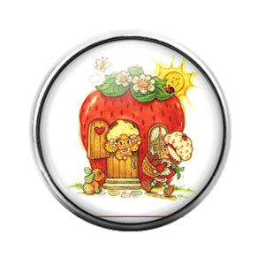 Strawberry Shortcake - 18MM Glass Dome Candy Snap Charm GD0734