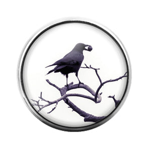 Crow Bird - 18MM Glass Dome Candy Snap Charm GD1476