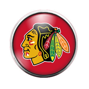 Chicago Black Hawks- 18MM Glass Dome Candy Snap Charm GD0407