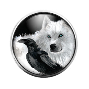 Crow Bird - 18MM Glass Dome Candy Snap Charm GD1477