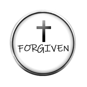 Cross Forgiven - 18MM Glass Dome Candy Snap Charm GD1280