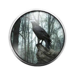 Crow Bird - 18MM Glass Dome Candy Snap Charm GD1478
