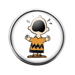 Peanuts Charlie Brown - 18MM Glass Dome Candy Snap Charm GD0884