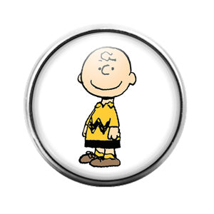 Peanuts Charlie Brown - 18MM Glass Dome Candy Snap Charm GD0885
