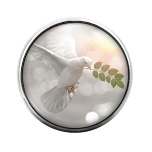 Dove with Olive Branch - 18MM Glass Dome Candy Snap Charm GD1285