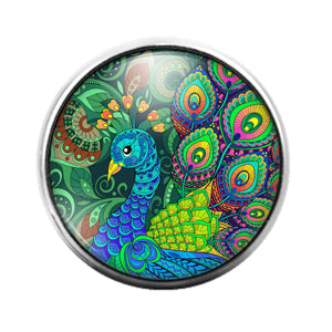 Peacock Bird - 18MM Glass Dome Candy Snap Charm GD1480