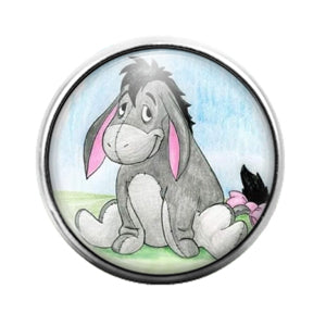 Winnie the Pooh Eeyore- 18MM Glass Dome Candy Snap Charm GD1064
