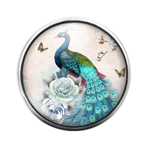 Peacock Bird - 18MM Glass Dome Candy Snap Charm GD1481