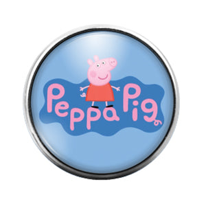 Peppa Pig- 18MM Glass Dome Candy Snap Charm GD1026