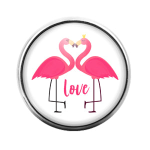 Flamingo Bird - 18MM Glass Dome Candy Snap Charm GD1483