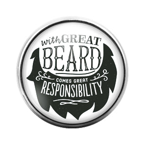 Beard - 18MM Glass Dome Candy Snap Charm GD0712