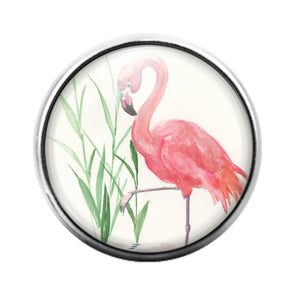 Flamingo Bird - 18MM Glass Dome Candy Snap Charm GD1485