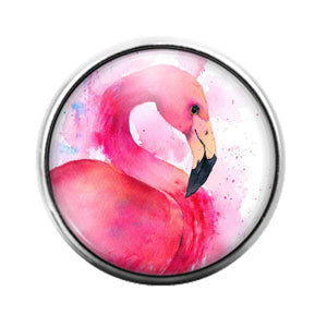 Flamingo Bird - 18MM Glass Dome Candy Snap Charm GD1486