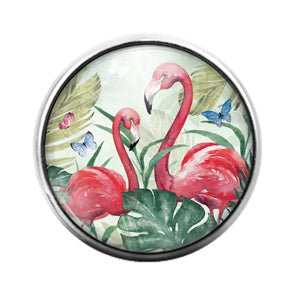 Flamingo Bird - 18MM Glass Dome Candy Snap Charm GD1487