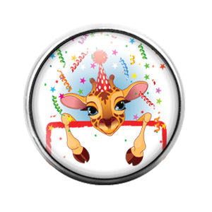 Giraffe Party Animal - 18MM Glass Dome Candy Snap Charm GD0879