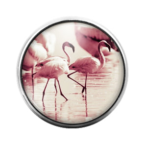 Flamingo Bird - 18MM Glass Dome Candy Snap Charm GD1488