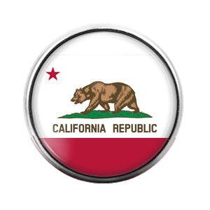 California Republic - 18MM Glass Dome Candy Snap Charm GD0883