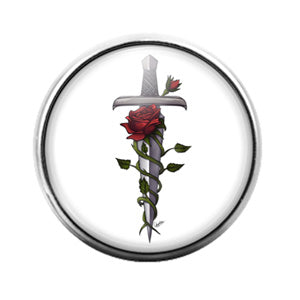 Rose Sword - 18MM Glass Dome Candy Snap Charm GD0891