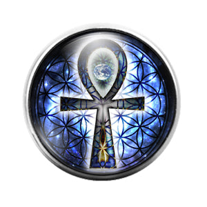 Ankh Cross - 18MM Glass Dome Candy Snap Charm GD1296