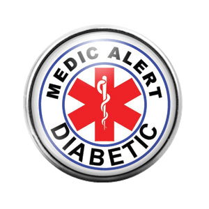 Diabetic Medic Alert- 18MM Glass Dome Candy Snap Charm GD1021